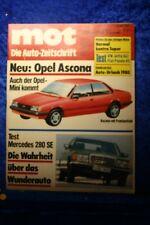 MOT 9/80 Opel Ascona C Mercedes 280 SE VW Jetta GLI Fiat Panda 45