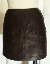"NEW Pret a porter BB Dakota Skirt 80s  Brown 7/8 Leather-looking 14"" long Size 7"