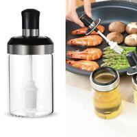 Glass Seasoning Jar Container Oil Honey Dispenser With Brush Rod Kitchen