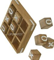 Handcrafted Gifts Wooden Tic Tac Toe Game for Kids 7 & Up - Family Board Games
