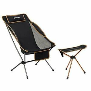 KingCamp Ultralight High Back Folding Camping (Camping Chair With Tripod Stool)