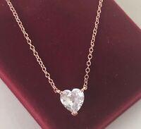 Halskette Herz Anhänger Collier mit Swarovski Kristall 925 Silber Rose vergoldet