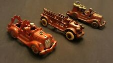 """3 Nice Vintage 1930's Hubley Cast Iron Ladder Fire Trucks 5"""" Must See."""