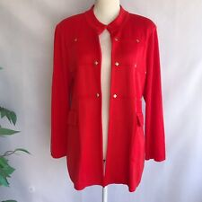 Misook Jacket Petite Large Gold Studs Open Front Bright Red Pockets Long Sleeve