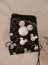 """Disney Mickey Mouse Icon Drawstring backpack shoulder pack 15"""" Black & Silver"""