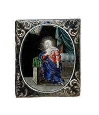 Nicolas LAUDIN Plaque en Émail Polychrome Limoges Vierge Saint Esprit Religiosa