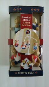 Sports Bear Music Mobile Attaches To Wall Or Baby Crib NIB Nursery Calming