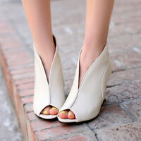 New Open Toe Womens High Heels Wedges Slip on Party Dress Shoes Pumps Plus Size