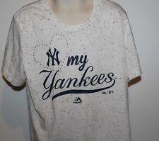 MLB New York Yankees Majestic Girls Medium 10/12 Heart Bling Shirt