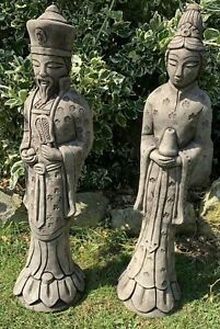 STONE GARDEN PAIR OF AN ORIENTAL JAPANESE CHINESE LARGE COUPLE ORNAMENT