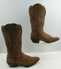 Ladies Justin Brown Leather Cowgirl Western Boots Size : 6.5 B