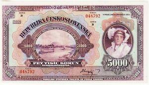 "Czechoslovakia 5000 Korun Specimen Banknote 1920 Uncirculated P#19-S""Free Ship"""