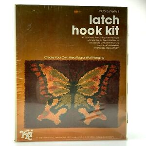 "Vintage 1977 BUTTERFLY Latch Hook Rug Kit | 20"" x 27"" 