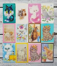 Swap Cards, Bulk Lot of 12, Vintage Cute Cats & Kittens, Collectable
