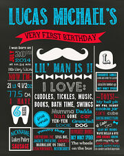 First Birthday Mustache Chalkboard poster sign for a boy chalk board (53)