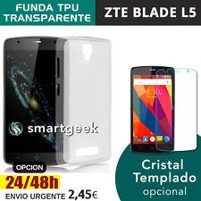 FUNDA TPU Gel TRANSPARENTE para ZTE BLADE L5 / L5 PLUS + CRISTAL TEMPLADO glass