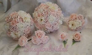 Wedding Bouquet Flowers Mocha Pink Ivory Light Pink Roses Gerberas Bride Groom