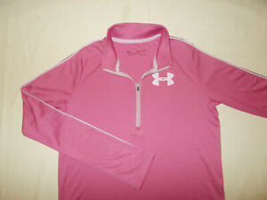 UNDER ARMOUR HEAT GEAR 1/2 ZIP LONG SLEEVE PINK LOOSE FIT TOP GIRLS XL EXCELLENT