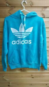 Vintage Retro 90s Blue Adidas Faint Tie Dye Hoodie Sweater Jumper Size L 14-16