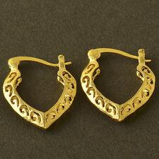 Carved Cutout Heart Shape Hoop Earrings Cute New 9K Yellow Gold Filled