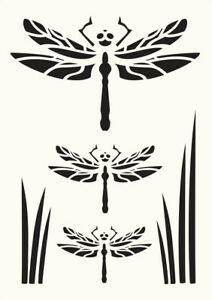 Dragonfly Stencil Painting Furniture Wall Wood Cardmaking Craft Reusable Art AN7