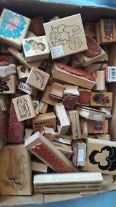Clean HUGE LOT of 100+ Scrapbooking Stampin Up' & Some Other Brand Wooden Stamps