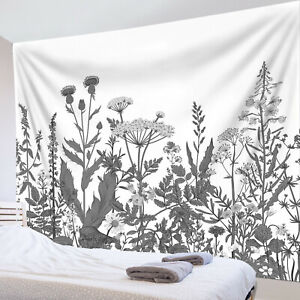 Gray Spring Plant Wild Grass Wildflower Tapestry Wall Hang Living Room Bedroom