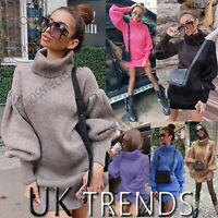 UK Women Knitted Jumper Sweater Ladies Autumn Winter Pockets Knitwear Mini Dress
