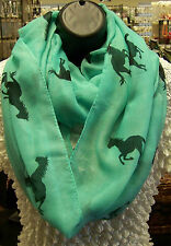 NEW~INFINITY LOOP SCARF - TURQUOISE COLOR SCARF WITH BLACK HORSE MOTIF~NEW!!!