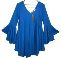 Milly Penzance Top NWT Tunic V Neck Boho Chic Plus 1X Womens Blue Teal Size 1X