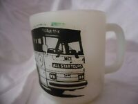 GLASBAKE Vintage White Milk Glass D Handle Coffee Cup Mug All Star Tours Bus