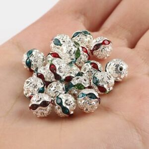 50pcs Multicolor Rhinestone Beads Crystal Loose Spacer Round Jewelry Making