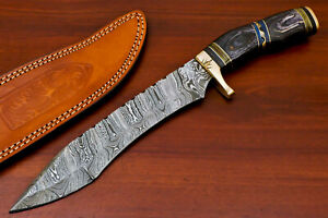Rody Stan HAND MADE DAMASCUS BLADE BOWIE HUNTING KNIFE - BRASS GUARD - AS-5231