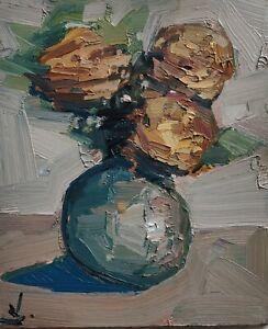 YELLOW ROSES OIL PAINTING BY ARTIST VIVEK MANDALIA 12 X 10 IMPRESSIONIST ART