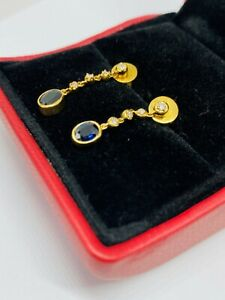 genuine 18ct yellow gold sapphire & diamond earrings unique with valuation