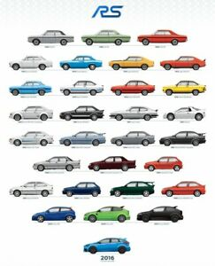 History of the RS Ford 1968 15m RS to the 2016 Focus RS A4 reproduction Poster
