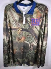 """Ny Men's L Long Sleeve Pullover Top Front 7"""" Zipper Camouflage Royal Blue Collar"""