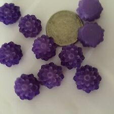 25 pcs Frosted Medium Purple Dahlia Flower Resin Cabs Cabochon Flat Back Beads