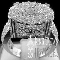 Mens Ladies 10K White Gold On Real Silver Simu Diamond Engagement Wedding Ring