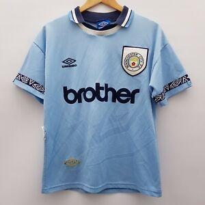 MCFC Manchester City Mens Home Football Shirt 1993-1995 No. 7 Size Small Vintage