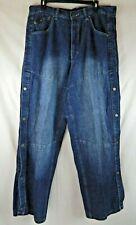 DELF K&S Sports Wear Button Leg Denim Blue Jeans Mens Size 36 x 34 NWT VTG