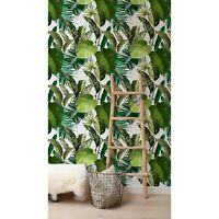 Tropical Green Forest Leaves removable wallpaper self adhesive watercolor