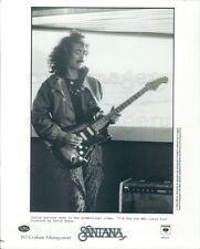 1985 Press Photo Carlos Santana Playing Fender Guitar Mesa Boogie Amp 1980s