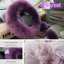 3x Car Long Plush Warm Winter Steering Wheel Cover Wool Furry Fluffy Accessories