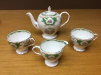 Vintage EB Foley Green Broadway Bone China TeaPot & Misc. (4 pcs) - England