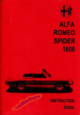 ALFA ROMEO DUETTO SPIDER OWNERS MANUAL HANDBOOK GUIDE BOOK 1966-1969 1600 VELOCE