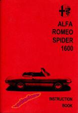 Alfa Romeo Duetto Spider Owners Manual Handbook Guide Book 1966-1969 1600 Veloce (Fits: Alfa Romeo)
