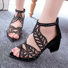 New Fashion Women's Shoes Hollow out Rhinestone Chunky heels Peep Toe Sandals