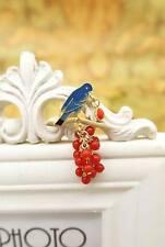 Broche Email Oiseau Bleu Grape Raisin Rouge Vintage Style Doré Original XZ4