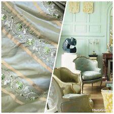 NEW! SALE! Designer 100% Silk Taffeta Aqua Green Fabric Embroidered Drapery